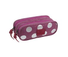 Piórnik dwukomorowy Coolpack Clever Silver Dots/Pink